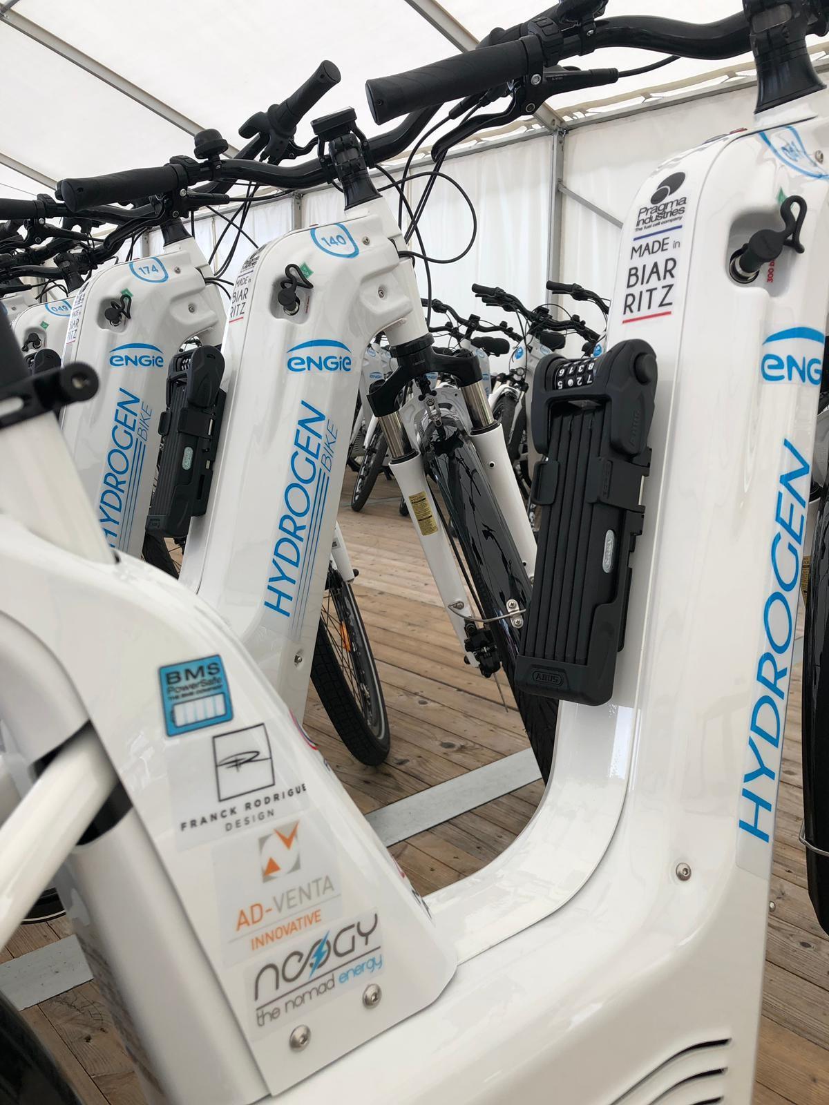 Une partie des vélos hydrogène Pragma qui avaient été mis en place par Engie à l'occasion du G7 de Biarritz